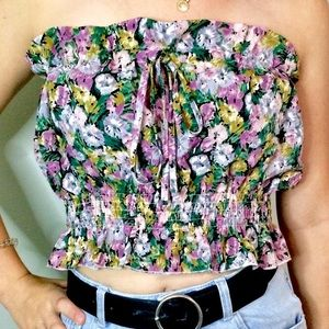 Cinched Floral Tube Top